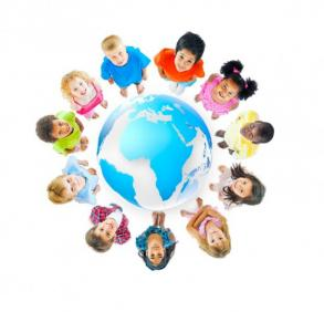 A diverse group of children circling the globe